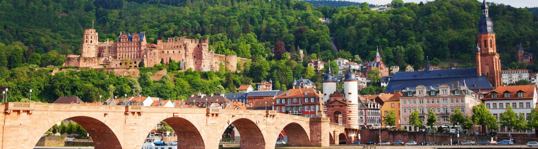 Blick auf die Stadt Heidelberg am Neckar in Deutschland